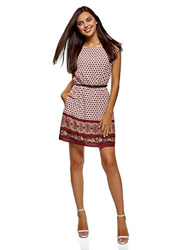 oodji Ultra Damen Viskose-Kleid Basic mit Gürtel, Rot, DE 38 / EU 40 / M