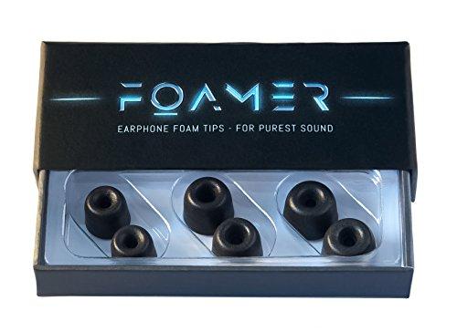 FOAMER F4.9 (S/M/L 3) • 3 Paar Noise Cancelling Schaum Ohrpolster für In Ear Kopfhörer • Ersatz für Silikon Ohrhörer Aufsatz • Extra Bass & Klarer Klang • InEar Ohrstöpsel, Memory Foam Earphone Tips