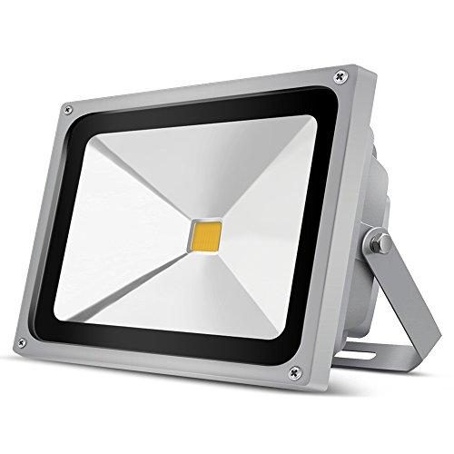 Auralum 50W LED Strahler 4500LM Flutlichtstrahler, Superhell Wetterfest LED Fluter für Außen und Innen, Außenbeleuchtung für Garten, Garage, Sportplatz oder Hotel usw, Grau, [Energieklasse A+] -