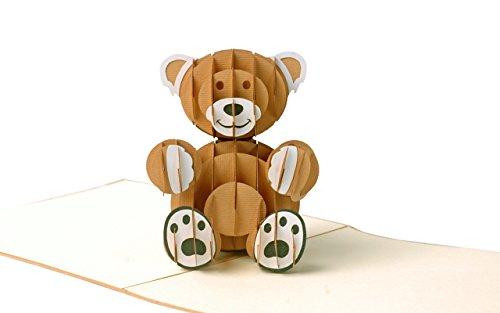 Geburtstagskarte Kinder mit süssem Teddy, Glückwunschkarte zum Geburtstag, Geburt Baby, Mädchen, Junge, Taufe, Kindergeburtstag Einladungskarte, 3D Pop-Up