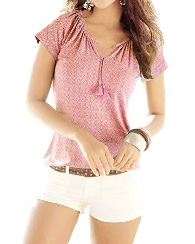 Layered Tee Top (Minetom T-Shirt Damen V-Ausschnitt Kurzarm Oberteile Sommer Gedruckt Neckholder Blusen Boho Casual Tee Shirts Bluse Tops A Rosa DE 44)