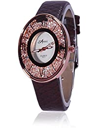 Fusine™ Amni Fashion Stone Studded 3D Leather Watch For Women (Oval) Party Wear (Brown)