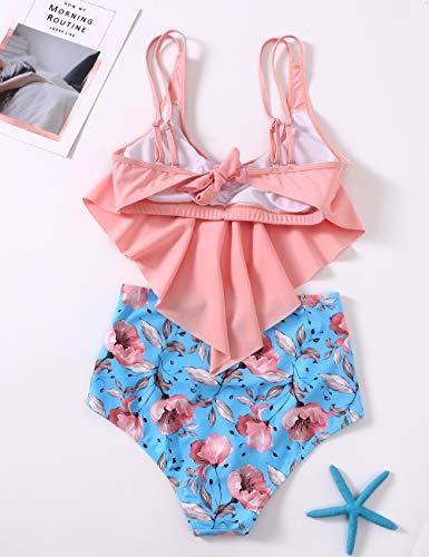 DaiLiWei Badeanzüge für Damen, hohe Taille, Badeanzug, Flounce Bikini Sets Print Tankinis - - Small - 5