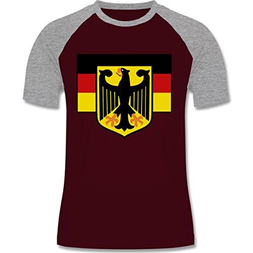 Länder - Deutschland Flagge mit Adler - Herren Baseball Shirt  Burgundrot/Grau meliert