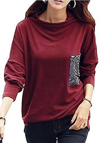 Ibelive Damen Frauen Batwing Shirts Cowl Neck Langarm Blusen Sequin Tunika Tops Mit Pailletten Taschen (Tag L/EU36, Weinrot)