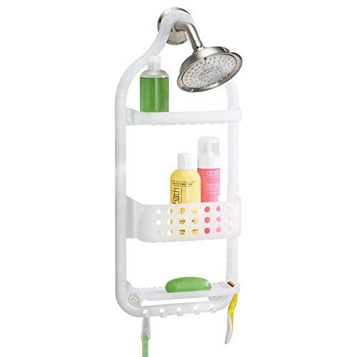 mDesign Dusch Hängeregal – 3 Ebenen Duschablage ohne Bohren – Duschkorb mit Saugnapf und 5 Haken für Shampoo, Seife etc. – mattweiß