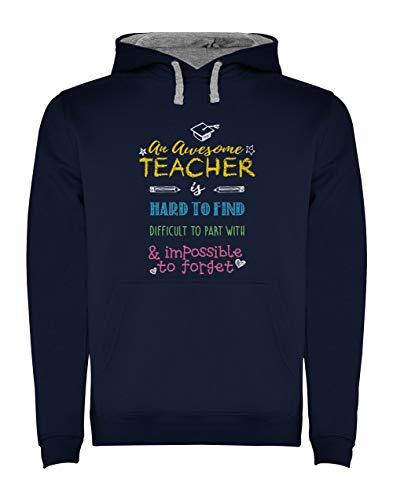 Sudadera con Capucha para Hombre - Regalo para Profesores - An Awesome Teacher is Hard to Find Small Azul Oscuro