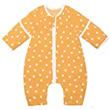 Schlafsack Baby Sommer Babyschlafsack mit Füßen Kleinkinder Schlafanzüge mit Abnehmbaren Ärmeln Säuglings Schlafsäcke Reißverschluss Ganzjahres Schlafstrampler 1 Tog (L Gelb)