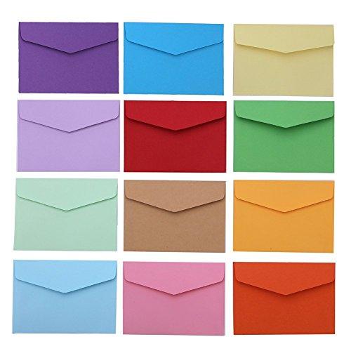 Tesan Mini Umschläge Multifarbe Umschläge,4,6 x 3,2 Zoll,12 Farben,60 Stück (Visitenkarten-umschlag)