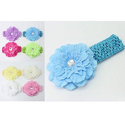 Pixnor 10 couleurs pour bébés filles pivoine fleur Crochet élastiques bandeaux serre-tête coiffure