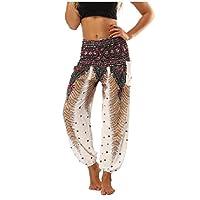 Comaba Women Yoga Pilates Genie Hippie Smocked Waist Rayon Harem Pants White OS