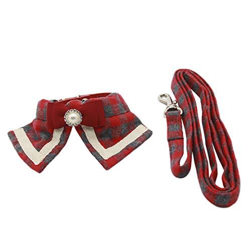 Wikibird Einstellbare Zubehör Schleife Halsbänder Princess Kragen Spleißen Geschirre Kariertes Hundeleinen Haustier Hundehalsbänder (Und-kragen-kariertes Hundeleine)