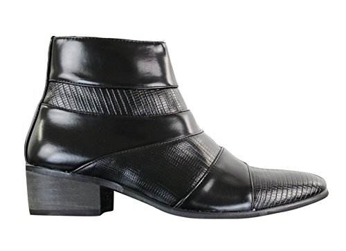 Scarpe eleganti alla caviglia da uomo senza lacci in finta pelle opaca o lucida nero 8uk, 42eu