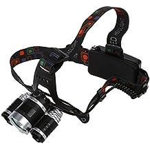 3a08037c9 Faro - TOOGOO(R)8000LM 3x LED XM-L T6 Lampara de cabeza de foco Faro  Antorcha de cabeza de zoom Luz de Flash Negro