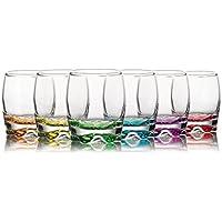 Lot de 6 verres colorés Gurallar Adora pour whisky/eau/jus de fruits, 290 ml, dans une boîte corail ADR15