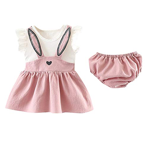 JUTOO Neugeborenes Kleinkind Baby Mädchen Set ärmellose Cartoon Kaninchen Hase Ohr Kleid Shorts (Rosa,80)