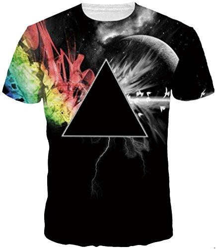 TDOLAH Herren Slim Fit 3D Farbspritzer Druck Muster T-Shirts Kurzarm Top (M ( TAG L ), schwarz (Kostüme Verkauf Superhelden)