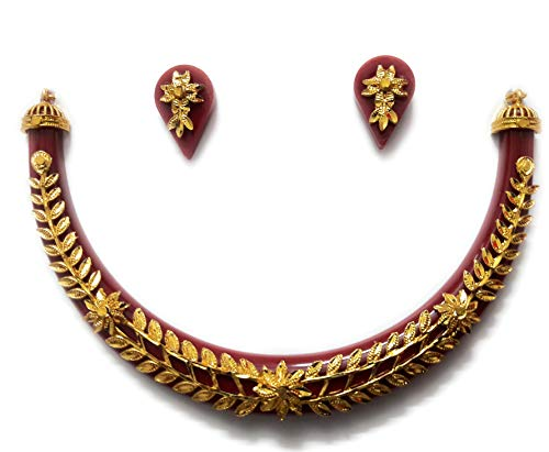 NEW JESSORESWARI JEWELLERS Red Brass Pola Leaves Necklace for Women
