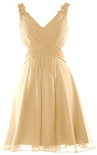 MACloth Women Strap V Neck Short Prom Homecoming Dress Wedding Party Formal Gown Champagner
