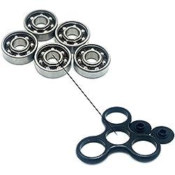Luckcrazy Lot de 5 roulement à billes en acier 608 pour Tri-spinner et hand spinner