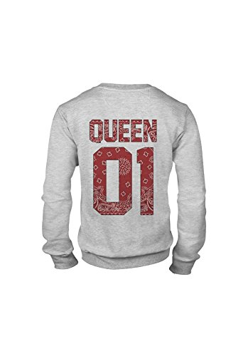 KING & QUEEN - SWEAT COL ROND QUEEN 01 - Red Bandana Gris