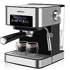 Idea Regalo - Macchina da Caffè Espresso 15 Bar con Indicatore LED Pulsanti Touch Montalatte Doppio Filtro Serbatoio 1.6L per Caffè Cappuccino Macchiato ELEHOT