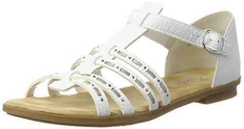 Rieker Damen 64274 Offene Sandalen mit Keilabsatz, Weiß (Weiss/Grey / 80), 38 EU