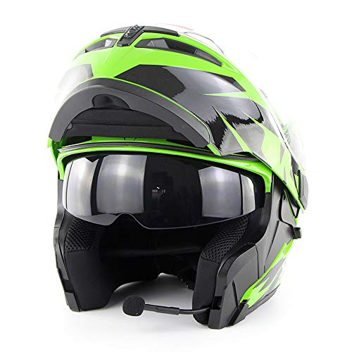 Wansheng Casco Moto Moto Bluetooth Integrato Modulare Flip Up Full Face Casco Moto D.O.T Certificazione Double Mirror MP3 Chiamata HD,Green,XL61cm~62cm