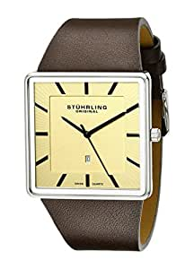 Stuhrling Original Men's Swiss Quartz Watch with Beige Dial Analogue Display and Brown Leather Strap 342.3315K15