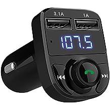 GRK® Nuovo Trasmettitore FM accendisigari - Funzione Bluetooth Radio senza fili - Con porte USB (Mano A Filo)