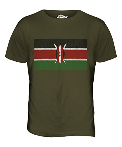 CandyMix Kenia Kritzelte Flagge Herren T Shirt Khaki Grün
