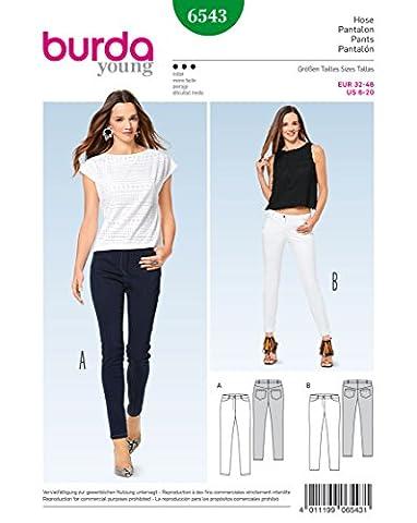 Burda 6543 Schnittmuster Schmale Hose & Jeans (Damen, Gr. 32 - 46) Level 3 mittel