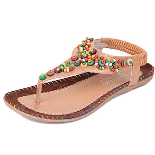 Ete 2016 Sandales Femmes Plates Pas Chere Doux perles Sandales clip Toe Sandals Chaussures de plage