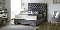 LayLowBeds Luxury Chelsea Chenille Fabric Upholstered Designer Bed Frame Diamond Cross-Hatch Pattern Studded Headboard & Large Under-Mattress Storage Area - 7 Colours & Full Range Sizes