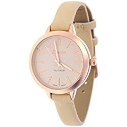 Women's Geneva Japanese Movement Stainless Steel Back Beige/Rose Gold-Tone Faux Leather Slim Band Watch