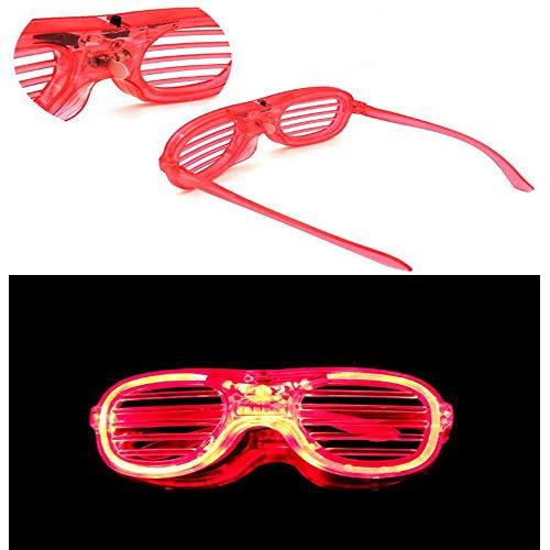 Glow LED Brille (5 Farben Bulk Light Up Brille Neon) Geeignet für Erwachsene Kinder Weihnachten Halloween Wild Clubbing Geburtstag Prom Party (10er Pack),Red