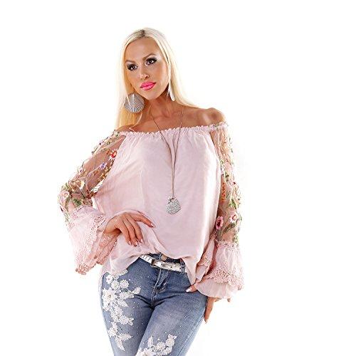 Made in Italy Italy Seiden Tunika Trompetenärmel mit Stickerei Ethno Folklore Hippie Bluse Longshirt Rosa S-M-L (Seide Aus S/s Bluse)