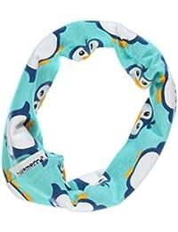 MAXOMORRA Mädchen Schal Blau Penguin Rundschal Scarf Tube Penguin BioBaumwolle GOTS