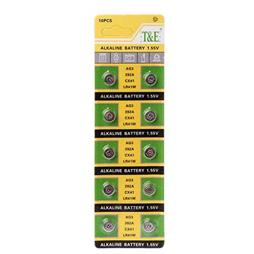 Youliy Cell Alkaline Batterie AG3 1,55 V Knopfbatterien SR41 192 L736 384 SR41SW CX41 LR41 392 Lampenkette Fingerlicht Uhr Spielzeug Fernbedienung - 10 Stück