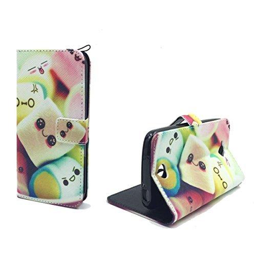 König-Shop Handy-Hülle für Acer Liquid Z530 Klapp-Hülle aus Kunst-Leder | Inklusive Panzer Schutz Glas 9H | Sturzsichere Flip-Case in Mehrfarbig | Im Marshmallow Motiv