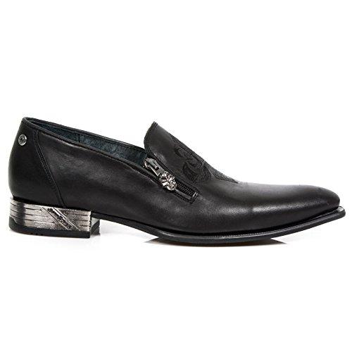 New Rock M Nw147 S1, Chaussures de ville homme Noir (Raw Negro/Bordados Negros/Elast)