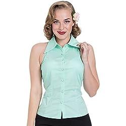 Voodoo Vixen Top o Camisa Sin Mangas Jasmine con Botones y Cuello Alado (Verde) - XL