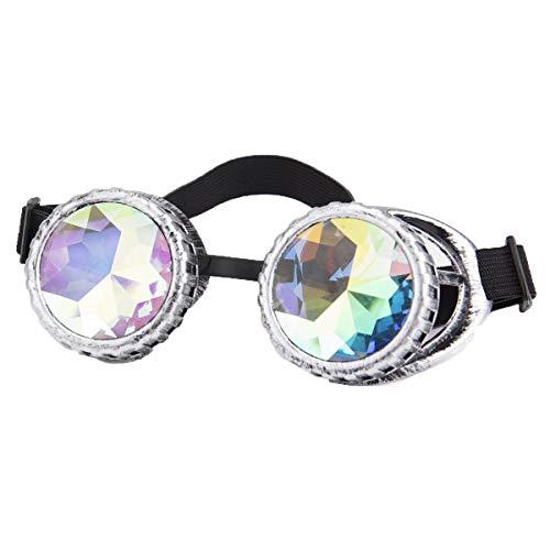 Kaleidoskop Brille Rave Spiked Steampunk Goggles Schutzbrille Partybrille Punk Cyber Goth Cosplay Gläser Sonnenbrille für Damen und Herren
