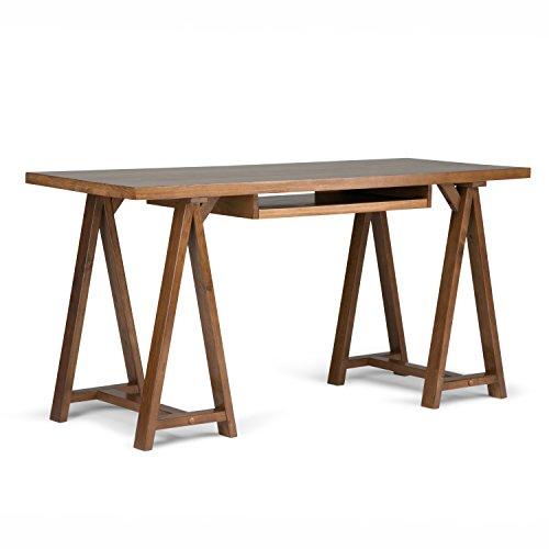 Simpli Home 3AXCSAW-07 Sawhorse Desk, Holz, medium saddle braun, 152.4 x 60.96 x 76.2 cm