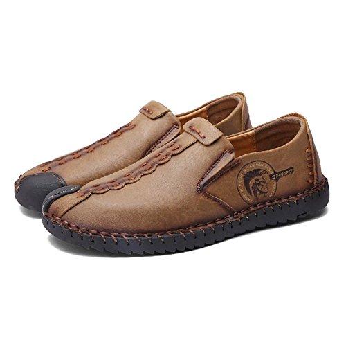 Hibote Herren Leder Freizeitschuhe Herren Britischen Stil Slip On/Schnürschuhe Casual Mode Flach Leder Loafer Schuhe Low-Top Sneakers Halbschuhe Slippers Gr.38-44 Braun (Slip On)