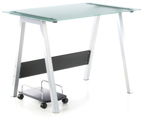 hjh OFFICE 673920 bureau multimédia, table informatique DELPHI argent, dimensions: 76 x 100 x 70 cm