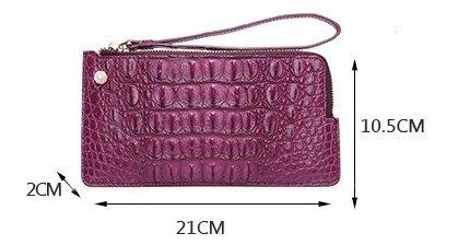 lpkone-Motif Crocodile wallet zip autour de portefeuille sac à main grande dragonne carte portefeuille paquet Purple