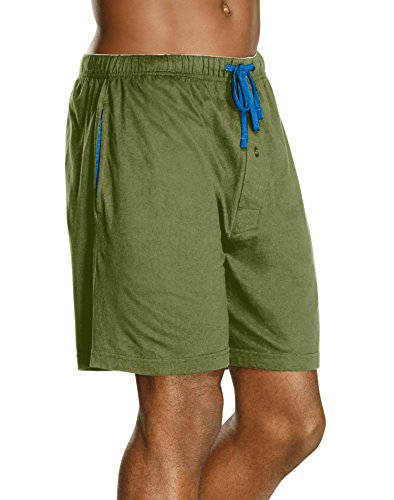 Hanes Men`s Jersey Lounge Drawstring Shorts with Logo Waistband 2-Pack -