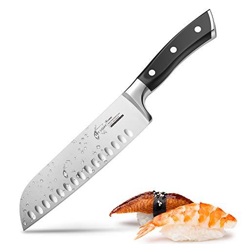 Santoku Messer Küchenmesser Japanisches Kochmesser mit Kullenschliff, extrem Scharf Rostfrei Edelstahl Universalmesser 17 cm mit ergonomisch geformter Griff