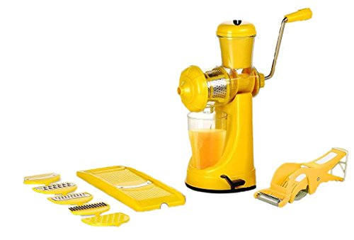 Magikware Fruit Vegetable Hand Juicer, Slicer & Peeler Super Kitchen Combo Set (Yellow, Set of 9)
